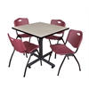 "Kobe 42"" Square Breakroom Table- Maple & 4 'M' Stack Chairs- Burgundy"