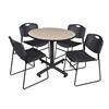 "Kobe 42"" Round Breakroom Table- Beige & 4 Zeng Stack Chairs- Black"