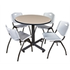 "Kobe 42"" Round Breakroom Table- Beige & 4 'M' Stack Chairs- Grey"