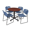 "Kobe 42"" Round Breakroom Table- Cherry & 4 Zeng Stack Chairs- Blue"