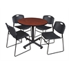 "Kobe 42"" Round Breakroom Table- Cherry & 4 Zeng Stack Chairs- Black"