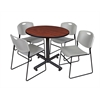 "Kobe 42"" Round Breakroom Table- Cherry & 4 Zeng Stack Chairs- Grey"