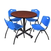 """Kobe 42"""" Round Breakroom Table- Cherry & 4 'M' Stack Chairs- Blue"""