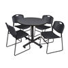 "Kobe 42"" Round Breakroom Table- Grey & 4 Zeng Stack Chairs- Black"