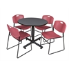 "Kobe 42"" Round Breakroom Table- Grey & 4 Zeng Stack Chairs- Burgundy"
