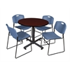 "Kobe 42"" Round Breakroom Table- Mahogany & 4 Zeng Stack Chairs- Blue"