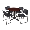 "Kobe 42"" Round Breakroom Table- Mahogany & 4 Zeng Stack Chairs- Black"