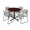 "Kobe 42"" Round Breakroom Table- Mahogany & 4 Zeng Stack Chairs- Grey"