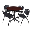 "Kobe 42"" Round Breakroom Table- Mahogany & 4 'M' Stack Chairs- Black"