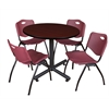 "Kobe 42"" Round Breakroom Table- Mahogany & 4 'M' Stack Chairs- Burgundy"