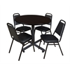 "Kobe 42"" Round Breakroom Table- Mocha Walnut  & 4 Restaurant Stack Chairs- Black"