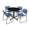 """Kobe 42"""" Round Breakroom Table- Mocha Walnut  & 4 Zeng Stack Chairs- Blue"""