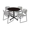 "Kobe 42"" Round Breakroom Table- Mocha Walnut  & 4 Zeng Stack Chairs- Grey"