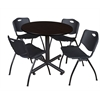 "Kobe 42"" Round Breakroom Table- Mocha Walnut  & 4 'M' Stack Chairs- Black"