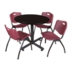 "Kobe 42"" Round Breakroom Table- Mocha Walnut  & 4 'M' Stack Chairs- Burgundy"