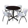 "Kobe 42"" Round Breakroom Table- Mocha Walnut  & 4 'M' Stack Chairs- Grey"
