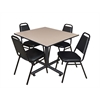 "Kobe 48"" Square Breakroom Table- Beige & 4 Restaurant Stack Chairs- Black"