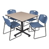 "Kobe 48"" Square Breakroom Table- Beige & 4 Zeng Stack Chairs- Blue"