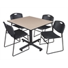 "Kobe 48"" Square Breakroom Table- Beige & 4 Zeng Stack Chairs- Black"
