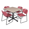 "Kobe 48"" Square Breakroom Table- Beige & 4 Zeng Stack Chairs- Burgundy"