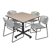 "Kobe 48"" Square Breakroom Table- Beige & 4 Zeng Stack Chairs- Grey"