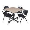 "Kobe 48"" Square Breakroom Table- Beige & 4 'M' Stack Chairs- Black"