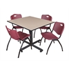 "Kobe 48"" Square Breakroom Table- Beige & 4 'M' Stack Chairs- Burgundy"