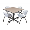 "Kobe 48"" Square Breakroom Table- Beige & 4 'M' Stack Chairs- Grey"