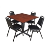 "Kobe 48"" Square Breakroom Table- Cherry & 4 Restaurant Stack Chairs- Black"