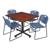 "Kobe 48"" Square Breakroom Table- Cherry & 4 Zeng Stack Chairs- Blue"
