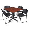 "Kobe 48"" Square Breakroom Table- Cherry & 4 Zeng Stack Chairs- Black"