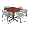 "Kobe 48"" Square Breakroom Table- Cherry & 4 Zeng Stack Chairs- Grey"