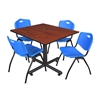 "Kobe 48"" Square Breakroom Table- Cherry & 4 'M' Stack Chairs- Blue"