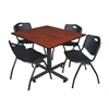 "Kobe 48"" Square Breakroom Table- Cherry & 4 'M' Stack Chairs- Black"