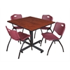 "Kobe 48"" Square Breakroom Table- Cherry & 4 'M' Stack Chairs- Burgundy"