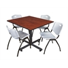 "Kobe 48"" Square Breakroom Table- Cherry & 4 'M' Stack Chairs- Grey"