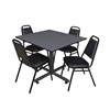 "Kobe 48"" Square Breakroom Table- Grey & 4 Restaurant Stack Chairs- Black"