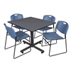"""Kobe 48"""" Square Breakroom Table- Grey & 4 Zeng Stack Chairs- Blue"""