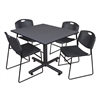 "Kobe 48"" Square Breakroom Table- Grey & 4 Zeng Stack Chairs- Black"