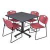 "Kobe 48"" Square Breakroom Table- Grey & 4 Zeng Stack Chairs- Burgundy"