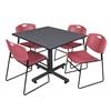 "Kobe 48"" Square Breakroom Table- Grey & 4 Zeng Stack Chairs- Burgundy"