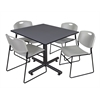 "Kobe 48"" Square Breakroom Table- Grey & 4 Zeng Stack Chairs- Grey"