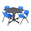 "Kobe 48"" Square Breakroom Table- Grey & 4 'M' Stack Chairs- Blue"