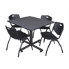 "Kobe 48"" Square Breakroom Table- Grey & 4 'M' Stack Chairs- Black"