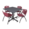 "Kobe 48"" Square Breakroom Table- Grey & 4 'M' Stack Chairs- Burgundy"