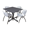 "Kobe 48"" Square Breakroom Table- Grey & 4 'M' Stack Chairs- Grey"