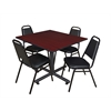 "Kobe 48"" Square Breakroom Table- Mahogany & 4 Restaurant Stack Chairs- Black"