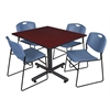 """Kobe 48"""" Square Breakroom Table- Mahogany & 4 Zeng Stack Chairs- Blue"""