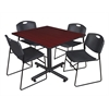"Kobe 48"" Square Breakroom Table- Mahogany & 4 Zeng Stack Chairs- Black"