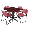 "Kobe 48"" Square Breakroom Table- Mahogany & 4 Zeng Stack Chairs- Burgundy"